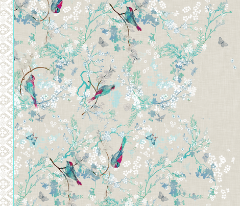 Birds + Blossoms Border Print fabric by nouveau_bohemian on Spoonflower - custom fabric