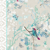 Birds + Blossoms Border Print
