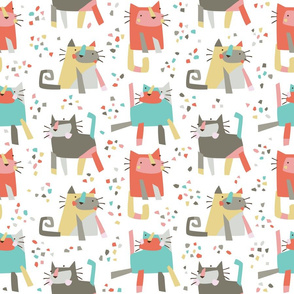 Cubist confetti cats // by petite_circus