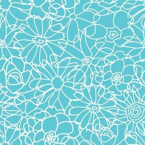 Floral - Turquoise & White