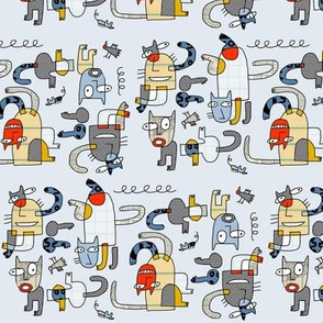 cubist collage cats