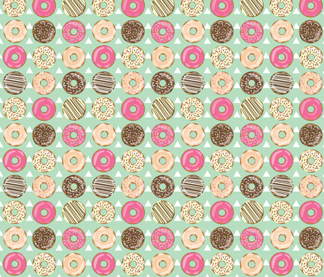 DONUTS AND TEEPEES MINT fabric by nikkifrank on Spoonflower - custom fabric