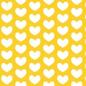 white heart on yellow