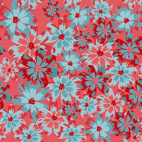 Floreado coral&light blue
