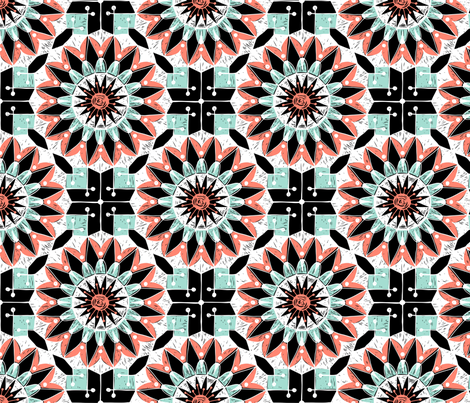 Mandala-Mint-Coral-Repeat fabric by sweeteleanor on Spoonflower - custom fabric