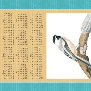 Chickadee Calendar Tea Towel