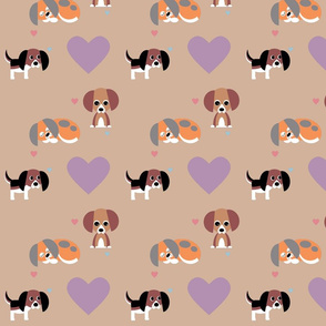 Beagles on Neutral Background