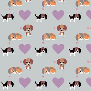 Beagles on Grey