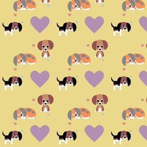 Beagles on Yellow