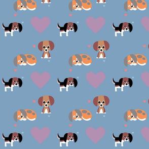 Beagle on Dusk Blue