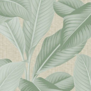 Palm In Palm ~ Sage on Oat Linen Luxe