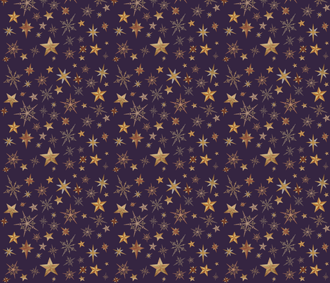 Steampunk Stars - purple fabric by thecameronquinn on Spoonflower - custom fabric