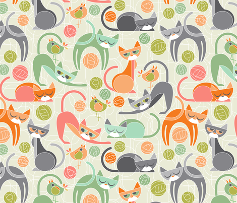 moody cubist cats fabric by cjldesigns on Spoonflower - custom fabric