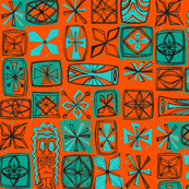 Castaway Cloth- aqua on orange