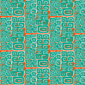 Abstractiva, Matuku,  Turquoise on orange