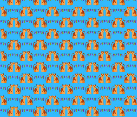 Cats and mittens on blue fabric by linsart on Spoonflower - custom fabric