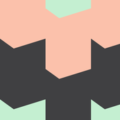 Chevron (Large) - Peach, Mint, and Charcoal