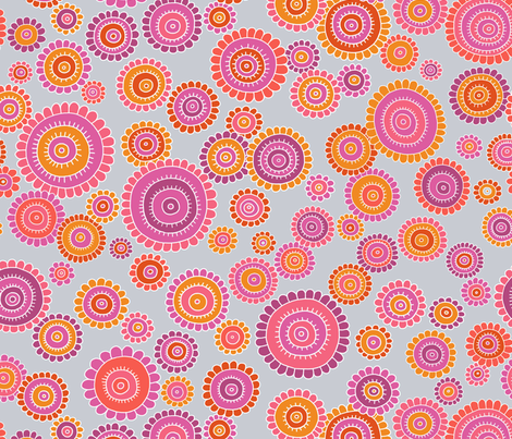 tribalFlower Red fabric by thelazygiraffe on Spoonflower - custom fabric