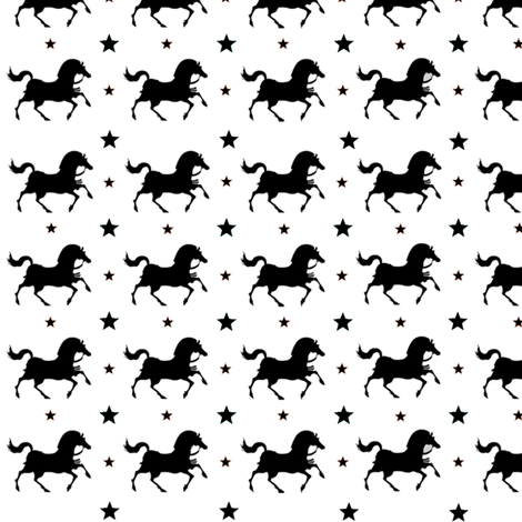 Marching Ponies in Black and White fabric by new_earth_baby on Spoonflower - custom fabric