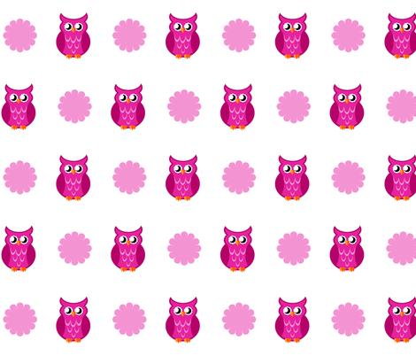 pink_owl_flower_small_copy fabric by mysticalarts on Spoonflower - custom fabric