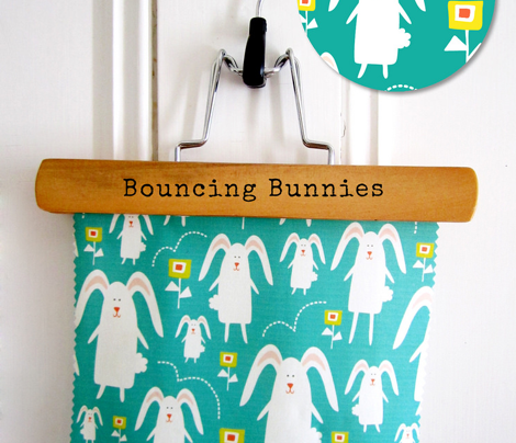 Bouncing Bunnies - Rabbits Flowers Easter Turquoise