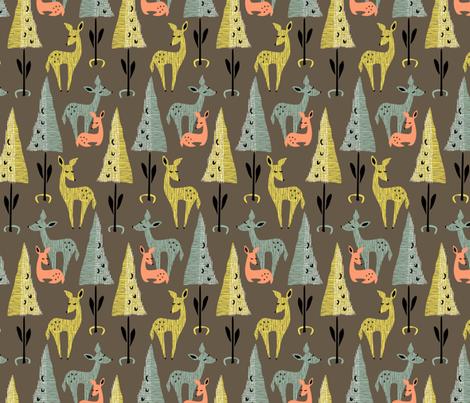 Deer Dwelling: Dark fabric by sheri_mcculley on Spoonflower - custom fabric