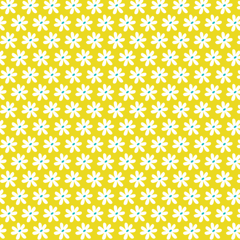 Daisy Chain - Floral Citron Yellow fabric by heatherdutton on Spoonflower - custom fabric