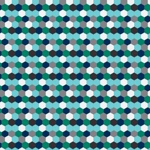 Navy & Emerald Honeycomb