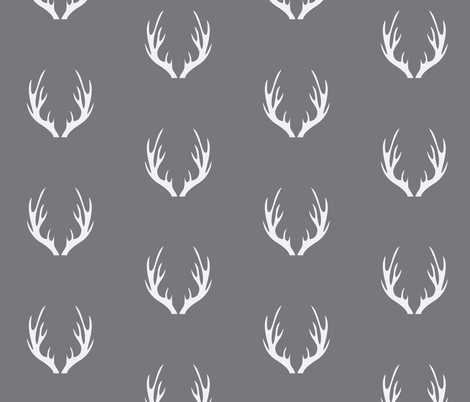 Antlers Grey fabric by portage_and_main on Spoonflower - custom fabric