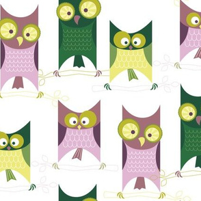 Green Retro Owls