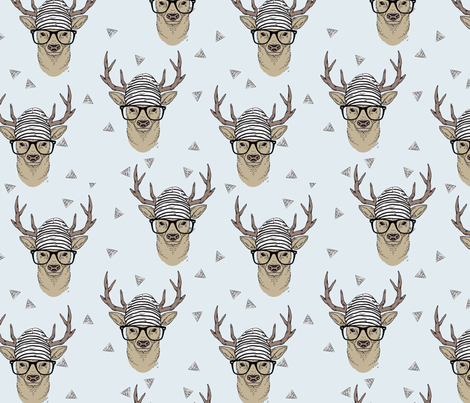 Grey Hipster Deer fabric by taluna on Spoonflower - custom fabric