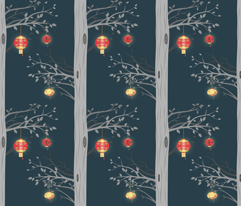 chinese_lantern_tree-01 fabric by jennifer_todd on Spoonflower - custom fabric