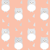 Owl Babies Winter Feathers - Peach - Large Scale