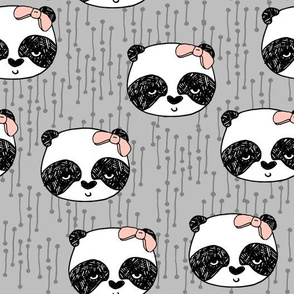 Panda with Bow - Slate Grey by Andrea Lauren