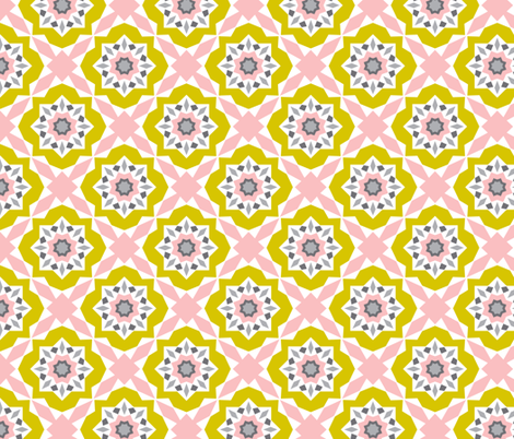 Mattonelle - Moroccan Geometric - Pink & yellow fabric by heatherdutton on Spoonflower - custom fabric