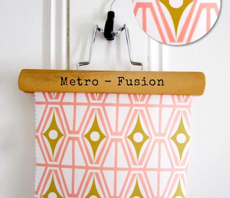 Metro - Midcentury Modern Retro Geometric Fusion Blush Pink & Goldenrod