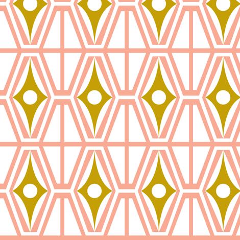 Metro - Midcentury Modern Retro Geometric Fusion Pink & Gold fabric by heatherdutton on Spoonflower - custom fabric