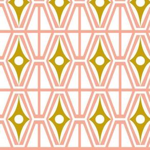 Metro - Midcentury Modern Retro Geometric Fusion Pink & Gold
