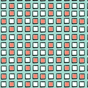 Coral, mint, black, and white squares