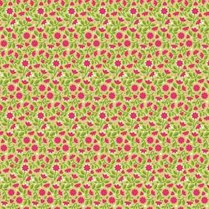Happy Unicorn's Pink Flower Garden_on Green Sm