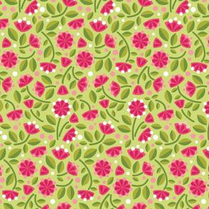 Happy Unicorn's Pink Flower Garden_on Green Lg