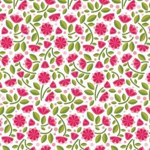 Happy Unicorn's Pink Flower Garden_on White Lg