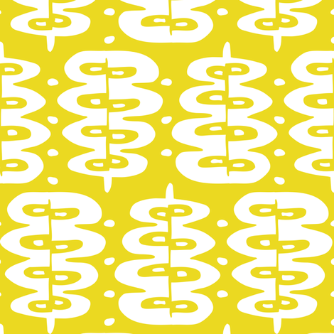 Fern Frond - Geometric Leaves Yellow fabric by heatherdutton on Spoonflower - custom fabric