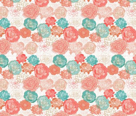 Coral Aqua Peonies fabric by mrshervi on Spoonflower - custom fabric