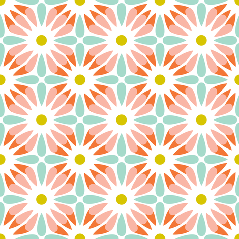 Crazy Daisy - Retro Floral Geometric fabric by heatherdutton on Spoonflower - custom fabric