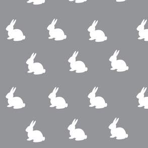 White Bunnies on Grey