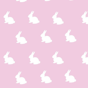 White Bunnies on Soft Pink