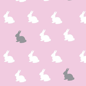 Pink Bunnies White and Grey