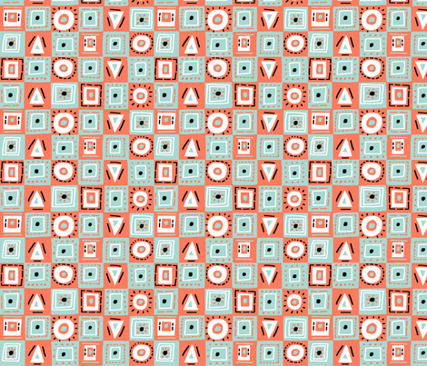 checkerboard mint coral fabric by kimmurton on Spoonflower - custom fabric