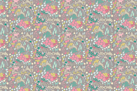 Fawn and Bunny Floral fabric by mainsail_studio on Spoonflower - custom fabric